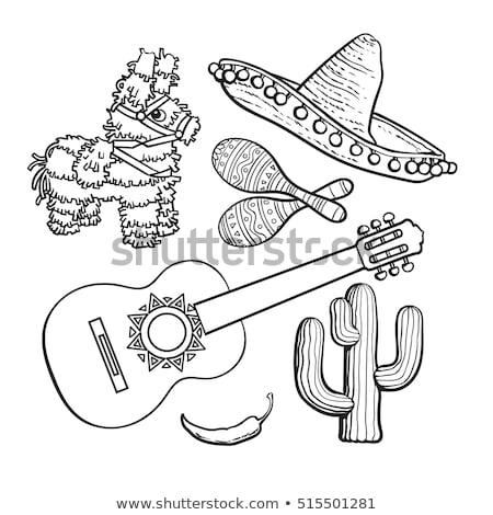 Traditioneel Mexicaanse schets sombrero geïsoleerd witte Stockfoto © netkov1