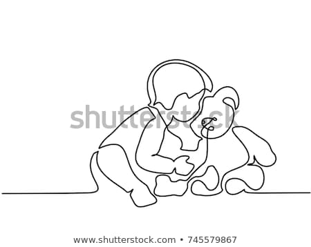 Cute Girl Reading A Book A Soft Toy Bear Vector. Isolated Illustration Stock photo © pikepicture