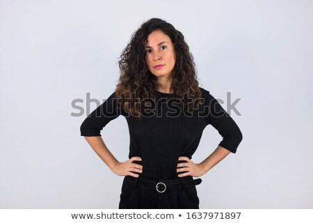 elegante · belo · morena · mãos · cintura · menina - foto stock © studiolucky