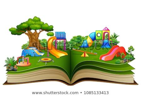 mesekönyv · fehér · iskola · laptop · hold · háttér - stock fotó © colematt