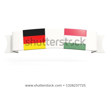 Banner with two square flags of Germany and hungary Stock photo © MikhailMishchenko