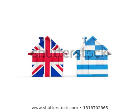 Two houses with flags of United Kingdom and greece Stock photo © MikhailMishchenko