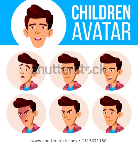 Asian jongen avatar ingesteld kid vector Stockfoto © pikepicture