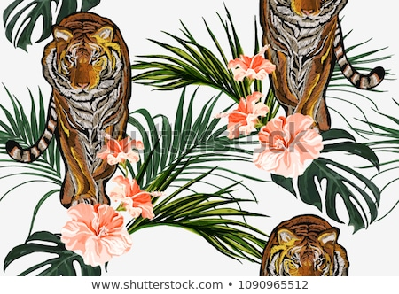 Stock photo: Flamingo and peony flowers watercolor background Vector
