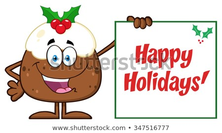 Jolly Christmas Pudding Cartoon Character Presenting A Sign With A Holly Corner And Text Stock photo © hittoon