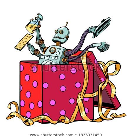 Robot regalo pulizia società aspirapolvere pop art Foto d'archivio © studiostoks