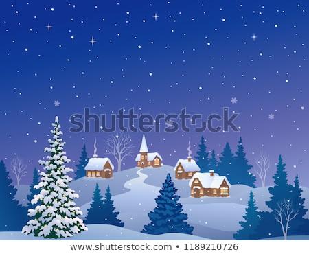 invierno · ciudad · Navidad · pequeño · casa · fondo - foto stock © colematt