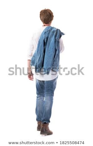 Szőke nő fickó farmernadrág bőrdzseki sétál kéz Stock fotó © feedough