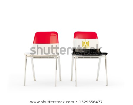Stock photo: Two chairs with flags of Indonesia and egypt