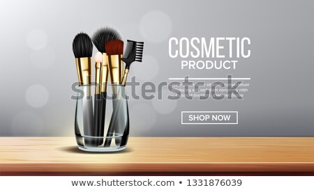 Makeup Brush Banner Vector. Holder. Wooden Stand. Female Accessory. Realistic Isolated Illustration Stock photo © pikepicture