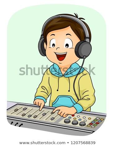 Kid ragazzo suono equalizzatore illustrazione indossare Foto d'archivio © lenm