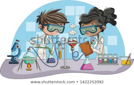 Teen chłopca mikroskopem ilustracja facet Zdjęcia stock © lenm