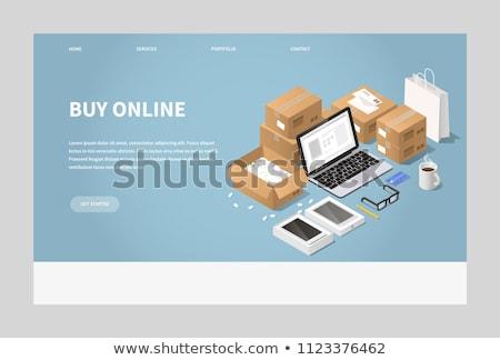 Online rendelés izometrikus 3D leszállás oldal Stock fotó © RAStudio