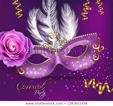 Purple ornamented mask and rose flowers Vector realistic. Stylish Masquerade Party. Mardi Gras card  Stock photo © frimufilms