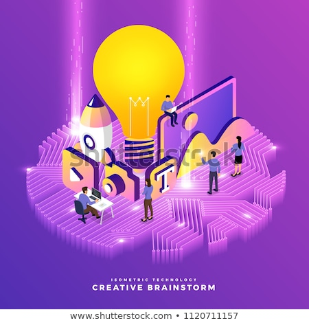 Vector concept creative business illustration with working peopl stock photo © Giraffarte