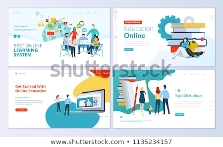 E-learning, Online Education Web Banner Vector Template Stok fotoğraf © pikepicture