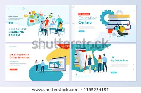 ストックフォト: E-learning, Online Education Web Banner Vector Template