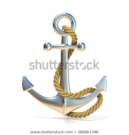 Staal anker touw 3D 3d render illustratie Stockfoto © djmilic