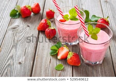 friss · egész · eprek · smoothie · három · kréta - stock fotó © alex9500