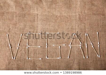 Vegan testo scritto legno cotone view Foto d'archivio © AndreyPopov
