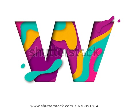 multi color layers font letter w 3d stock photo © djmilic