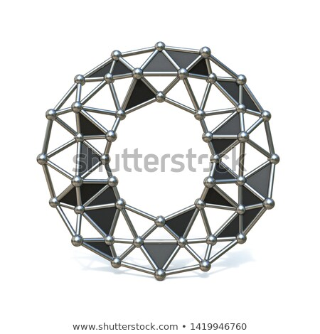 Wire low poly black metal Font Letter O 3D Stock photo © djmilic
