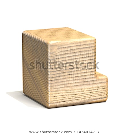 Solid wooden cube font Letter L 3D Stock photo © djmilic