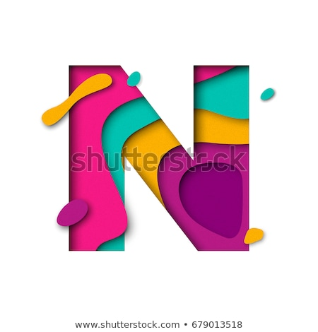Stock photo: Colorful paper cut out font Letter N 3D