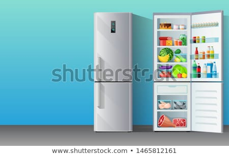 banner with modern grey chromium plated fridge freezer closed and opened with colorful food supplies stock photo © marysan
