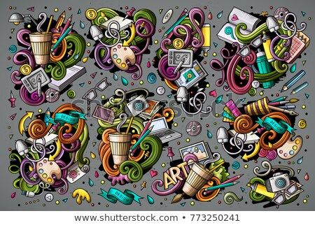 Colorful vector doodles cartoon set of Designer combinations of objects Stock photo © balabolka