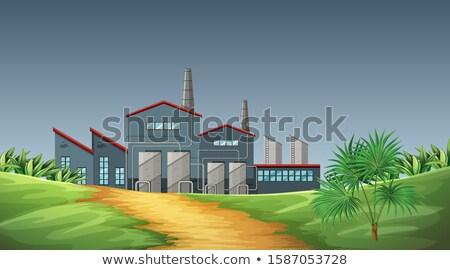 Verontreiniging fabriek scène natuur illustratie zonsondergang Stockfoto © bluering