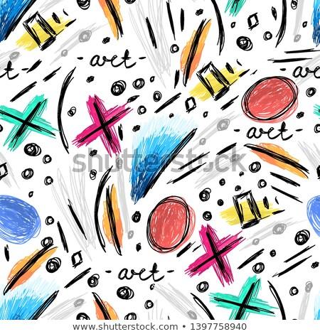 absztrakt · végtelen · minta · kézzel · rajzolt · retkes · firkák · modern - stock fotó © user_10144511