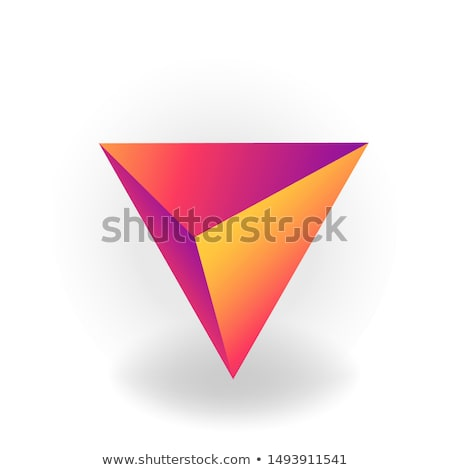 Cone - One 3D geometric shape with holographic gradient isolated on white background vector Stock photo © MarySan