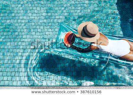 Sweet Summer, Woman Swimming in Blue Water Stock photo © robuart