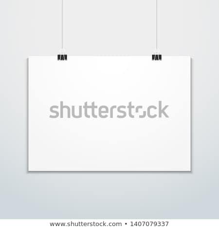 beyaz · boş · kağıt · duvar · poster · yukarı · şablon - stok fotoğraf © trikona