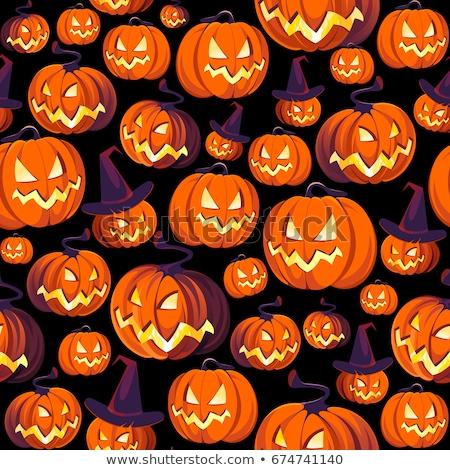 Spaß Halloween Kürbisse Wiederholung Muster Stock foto © jeff_hobrath