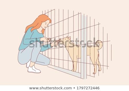 Mulher cão animal abrigo alegre comida Foto stock © Kzenon