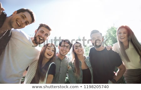 Groep glimlachend studenten blauwdruk onderwijs architectuur Stockfoto © dolgachov