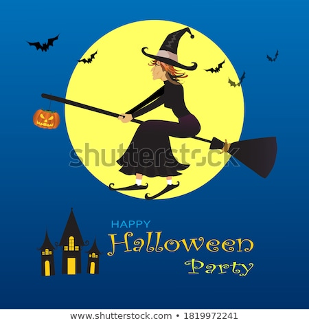 glow halloween greeting card with witch pumpkin bat moon on th stock photo © lissantee