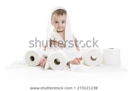 Omhoog toiletpapier badkamer studio baby Stockfoto © Lopolo
