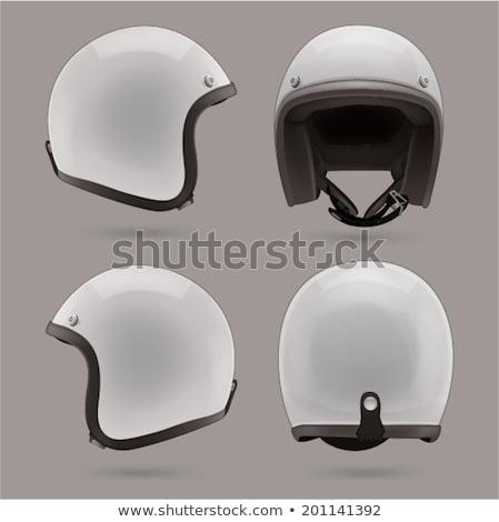 Moto caschi casco icona bianco sicurezza Foto d'archivio © smoki