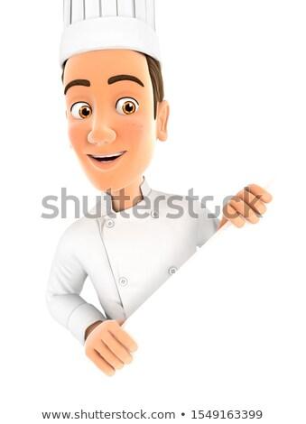 3D testa chef dietro diagonale muro Foto d'archivio © 3dmask