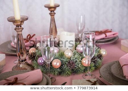 Karácsony asztal rózsaszín dekoráció felső kilátás Stock fotó © furmanphoto