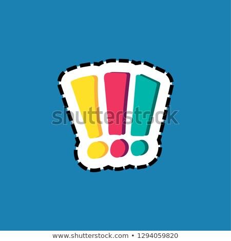 Exclamation marks stitched frame flat color illustration Stock photo © barsrsind