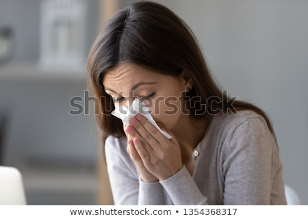 Infeliz doente mulher garganta inflamada casa frio Foto stock © dolgachov