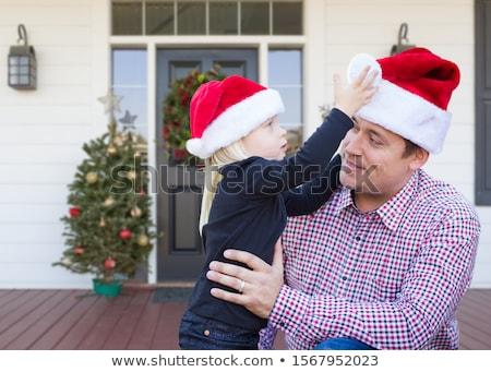christmas · decoraties · voordeur · huis · home · goud - stockfoto © feverpitch