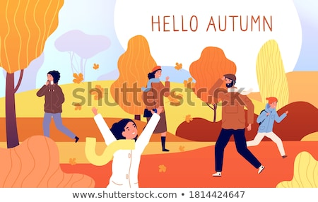 people walking in park hello autumn card vector stock photo © robuart