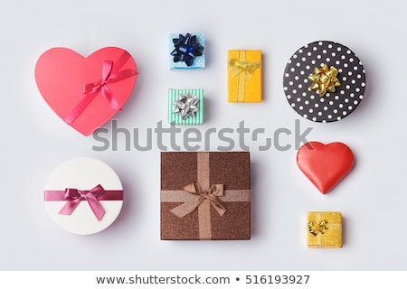 Coffrets cadeaux paire brun rouge blanche ruban Photo stock © nito
