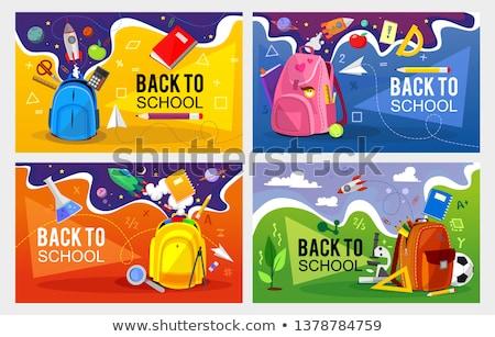 Stock fotó: Iskola · tárgyak · ceruza · zöld · fekete · izolált