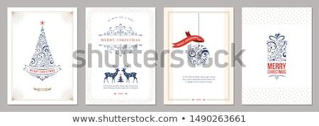 Karácsony új év arany ünnep art deco kártya Stock fotó © cienpies
